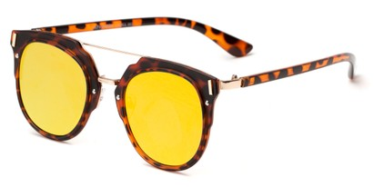 Angle of Noosa #6705 in Tortoise/Gold Frame with Orange Mirrored Lenses, Women's and Men's Round Sunglasses