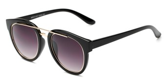 Angle of Brooklyn #67211 in Black Frame with Smoke Lenses, Women's Round Sunglasses