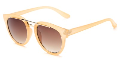 Angle of Brooklyn #67211 in Light Tan Frame with Amber Lenses, Women's Round Sunglasses