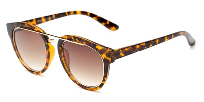 Angle of Brooklyn #67211 in Tortoise Frame with Amber Lenses, Women's Round Sunglasses