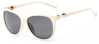 Angle of Bristol #6881 in White Frame with Grey Lenses, Women's Retro Square Sunglasses
