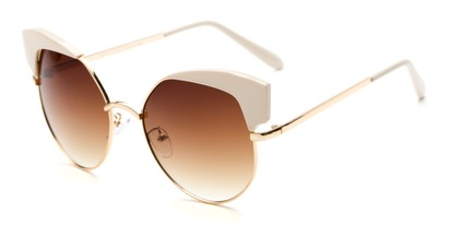 Angle of Sloan #9701 in Ivory Frame with Amber Lenses, Women's Cat Eye Sunglasses