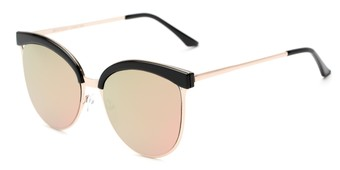Angle of Seneca #9709 in Black/Gold Frame with Pink/Green Mirrored Lenses, Women's Cat Eye Sunglasses