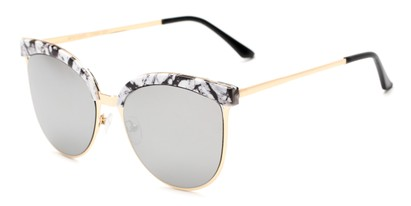 Angle of Seneca #9709 in Marble/Gold Frame with Silver Mirrored Lenses, Women's Cat Eye Sunglasses