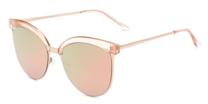 Angle of Seneca #9709 in Pink/Gold Frame with Pink/Green Mirrored Lenses, Women's Cat Eye Sunglasses