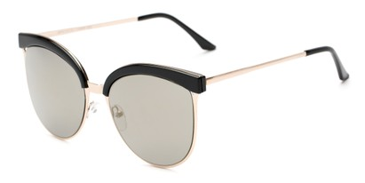 Angle of Seneca #9709 in Black/Gold Frame with Gold Mirrored Lenses, Women's Cat Eye Sunglasses