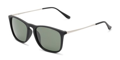 Angle of Macklin #7135 in Black Frame with Green Lenses, Women's and Men's Retro Square Sunglasses