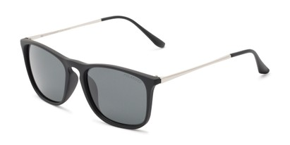 Angle of Macklin #7135 in Black Frame with Grey Lenses, Women's and Men's Retro Square Sunglasses