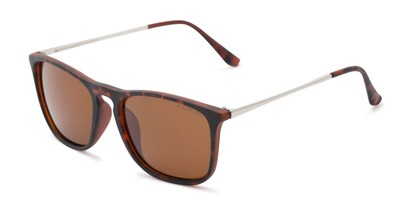 Angle of Macklin #7135 in Tortoise Frame with Amber Lenses, Women's and Men's Retro Square Sunglasses