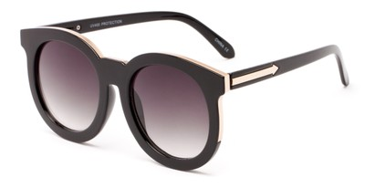 Angle of Marina #6592 in Black/Gold Frame with Smoke Lenses, Women's Round Sunglasses