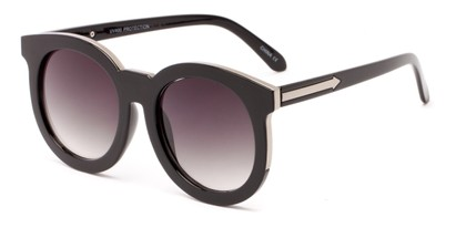 Angle of Marina #6592 in Black/Silver Frame with Smoke Lenses, Women's Round Sunglasses