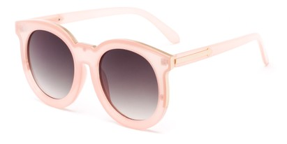 Angle of Marina #6592 in Pink Frame with Smoke Lenses, Women's Round Sunglasses