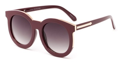Angle of Marina #6592 in Dark Red Frame with Smoke Lenses, Women's Round Sunglasses