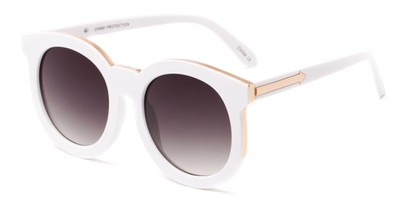 Angle of Marina #6592 in White Frame with Smoke Lenses, Women's Round Sunglasses