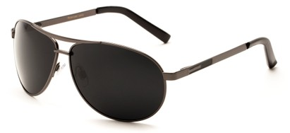 Angle of Memphis #506 in Glossy Gray Frame with Grey Lenses, Women's and Men's Aviator Sunglasses