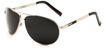 Angle of Memphis #506 in Matte Silver Frame with Grey Lenses, Women's and Men's Aviator Sunglasses