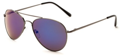 Angle of Miami #1285 in Grey Frame with Purple/Blue Mirrored Lenses, Women's and Men's Aviator Sunglasses