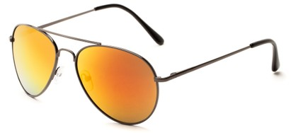 Angle of Miami #1285 in Grey Frame with Orange Mirrored Lenses, Women's and Men's Aviator Sunglasses