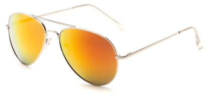 Angle of Miami #1285 in Silver Frame with Orange Mirrored Lenses, Women's and Men's Aviator Sunglasses