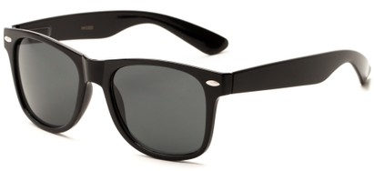 Angle of Michigan #1608 in Black Frame with Grey Lenses, Women's and Men's Retro Square Sunglasses