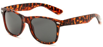 Angle of Michigan #1608 in Brown Tortoise Frame with Grey Lenses, Women's and Men's Retro Square Sunglasses