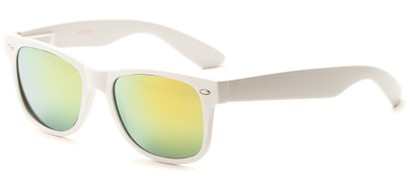 Angle of Mirage in White Frame with Yellow/Blue Mirrored Lenses, Women's and Men's Retro Square Sunglasses