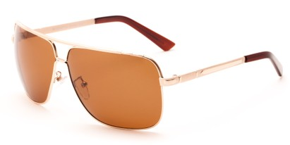 Angle of Mojave #1524 in Matte Gold Frame with Brown Lenses, Men's Aviator Sunglasses