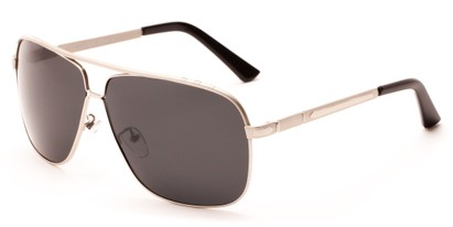 Angle of Mojave #1524 in Matte Silver Frame with Smoke Lenses, Men's Aviator Sunglasses
