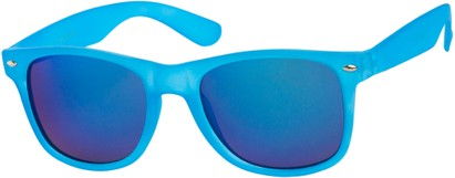 Angle of SW Mirrored Retro Style #541 in Blue Frame with Revo Mirrored Lenses, Women's and Men's