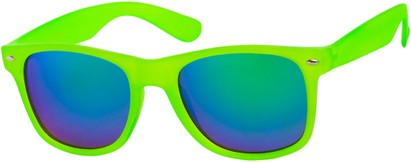 Angle of SW Mirrored Retro Style #541 in Green Frame with Revo Mirrored Lenses, Women's and Men's