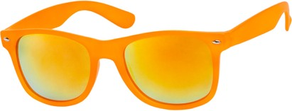Angle of SW Mirrored Retro Style #541 in Orange Frame with Revo Mirrored Lenses, Women's and Men's