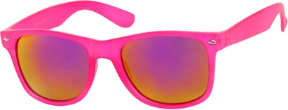 Angle of SW Mirrored Retro Style #541 in Pink Frame with Revo Mirrored Lenses, Women's and Men's