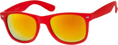 Angle of SW Mirrored Retro Style #541 in Red Frame with Revo Mirrored Lenses, Women's and Men's