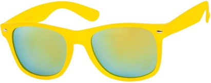 Angle of SW Mirrored Retro Style #541 in Yellow Frame with Revo Mirrored Lenses, Women's and Men's
