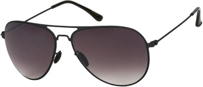 Angle of Sundance #9255 in Black Frame with Smoke Lenses, Women's and Men's Aviator Sunglasses