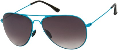 Angle of Sundance #9255 in Neon Blue Frame with Smoke Lenses, Women's and Men's Aviator Sunglasses