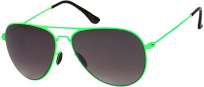 Angle of Sundance #9255 in Neon Green Frame with Smoke Lenses, Women's and Men's Aviator Sunglasses