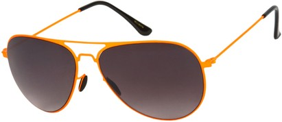 Angle of Sundance #9255 in Neon Orange Frame with Smoke Lenses, Women's and Men's Aviator Sunglasses
