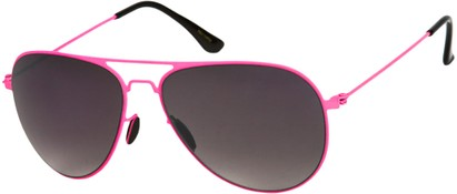 Angle of Sundance #9255 in Neon Pink Frame with Smoke Lenses, Women's and Men's Aviator Sunglasses