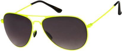 Angle of Sundance #9255 in Neon Yellow Frame with Smoke Lenses, Women's and Men's Aviator Sunglasses