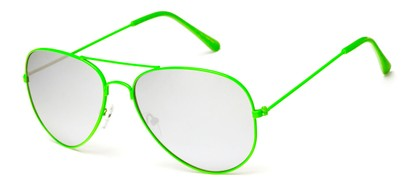 Lime Green Mirrored Aviator Sunglasses