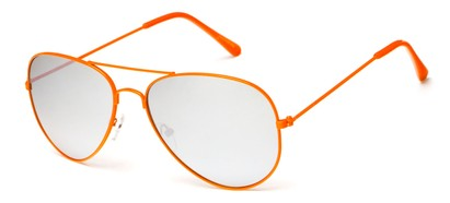 Neon Orange Mirrored Aviator Sunglasses