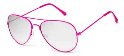 Angle of Maui #9922 in Pink Frame with Silver Lenses, Women's and Men's Aviator Sunglasses