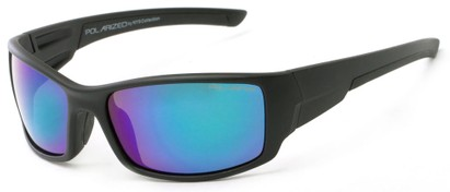 Angle of Whitefish #8702 in Glossy Black Frame with Blue/Green Mirrored Lenses, Women's and Men's Sport & Wrap-Around Sunglasses