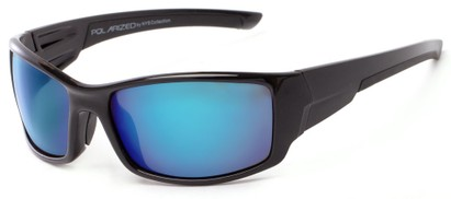 Angle of Whitefish #8702 in Glossy Black Frame with Blue/Purple Mirrored Lenses, Women's and Men's Sport & Wrap-Around Sunglasses