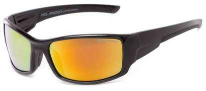 Angle of Whitefish #8702 in Glossy Black Frame with Yellow/Orange Mirrored Lenses, Women's and Men's Sport & Wrap-Around Sunglasses