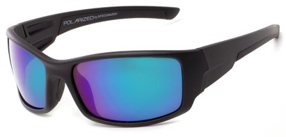 Angle of Whitefish #8702 in Matte Black Frame with Blue/Green Mirrored Lenses, Women's and Men's Sport & Wrap-Around Sunglasses