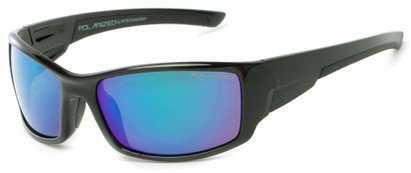 Angle of Whitefish #8702 in Matte Black Frame with Blue/Purple Mirrored Lenses, Women's and Men's Sport & Wrap-Around Sunglasses