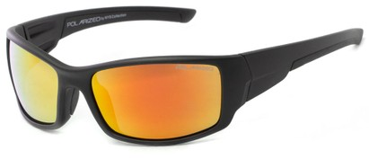 Angle of Whitefish #8702 in Matte Black Frame with Yellow/Orange Mirrored Lenses, Women's and Men's Sport & Wrap-Around Sunglasses