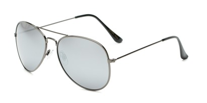 Angle of Nashville #2167 in Grey Frame with Silver Mirrored Lenses, Women's and Men's Aviator Sunglasses